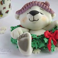 Christmas polar bear cub