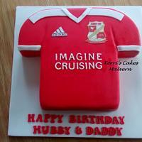 Hubby's Swindon Town FC shirt cake x