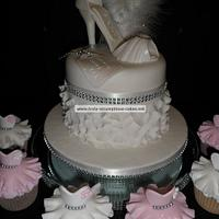 Diamante Shoe cake with dress cupcakes by Emma Stewart
