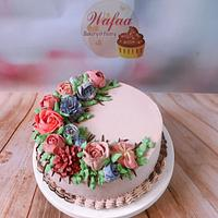 Flowers cream cake