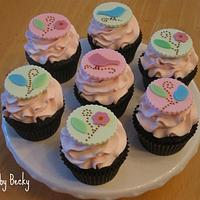Love Birds Baby Shower Cupcakes