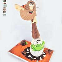 Captain Caveman Gravity Defying Cake