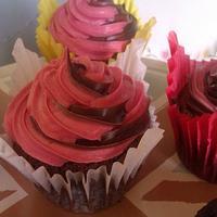 chocolate fudge with chocolate & raspberry ganache