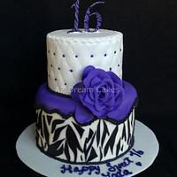 Sweet sixteen white, purple and black zebra print cake