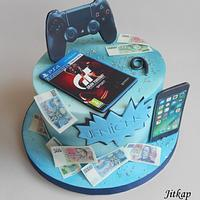 Playstation, game, phone cake