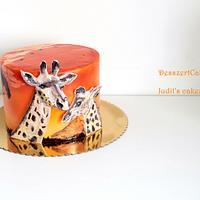 Savanna cake with giraffes