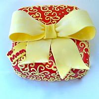 Red and Yellow Present Cake