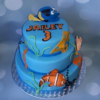 Dory en Nemo birthday cake.