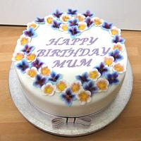 Simple but pretty birthday/Mother's day cake with moulded flowers