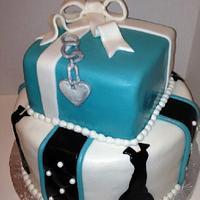Breakfast at Tiffany's Inspired Bridal Shower Cake