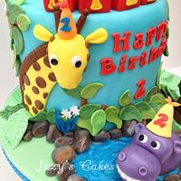 Jungle rainbow birthday cake
