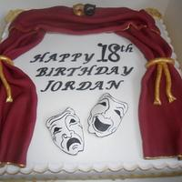 theatre tragedy masks birthday cake