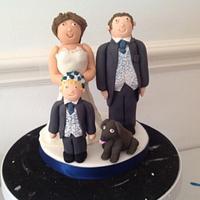 Handmade bride and groom cake topper