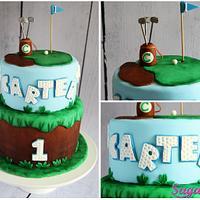 Golf themed 1st Birthday cake