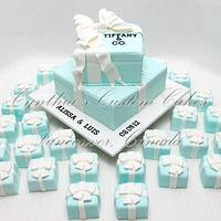 """Tiffany"" inspired engagement cake"