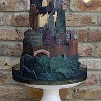 Gotham City Skyline in Modelling Chocolate
