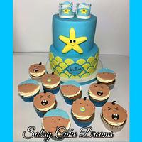 Babyshower cake and cupcakes