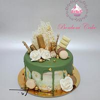Green drip cake