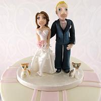 Pink Wedding cake with custom topper by Natasha Shomali