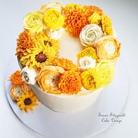 Fall Buttercream Floral Wreath