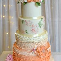 Peach & Ivory Wedding Cake