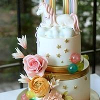 Unicorn Floral Cake