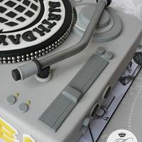 DJ mixing deck birthday cake