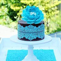 Ganache, lace and a peony cake