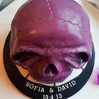 Purple Skull wedding cake by Chrissy_Cakes_UK