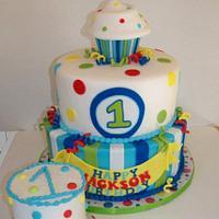 Boy 1st birthday Cupcake theme by cris711