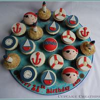 Nautical themed 21st cupcakes