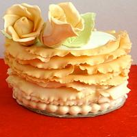 Peach & Roses Mini Cake by KnKBakingCo