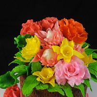 Little Flower Basket Cake by Sugarpixy