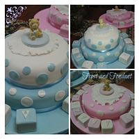 Double christening cakes