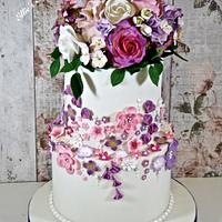 A cake full of spring flowers