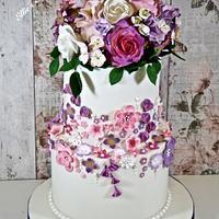 A cake full of spring flowers