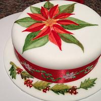 Hand painted poinsettia cake
