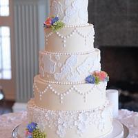 Elegant Fondant Lace and Buttercream Wedding Cake