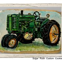 Hand painted tractor cookie