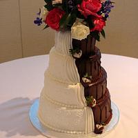 Half bride and half groom cake