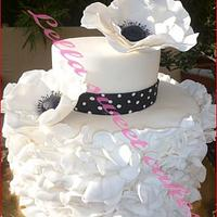 Ruffle cake with anemones by LellaSweetCakes