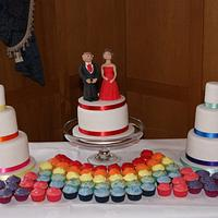 Rainbow Wedding Cakes and Cupcakes by Jayne Plant