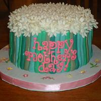 Mother's Day Cake Stems and Daisies!!!!  Eggless Cake