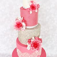 Wedding cake in silver and pink