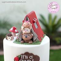 Woodland Critters Baby Shower Cake