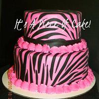 Zebra Print Cake, Buttercream Icing, Black Fondant
