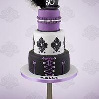 Purple and Black Burlesque Cake