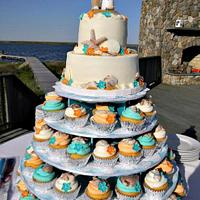 Teal and Orange Beach Wedding