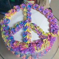 tye-dye peace sign cake