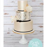 Gold Lustre, Silver Leaf & Damask Wedding Cake